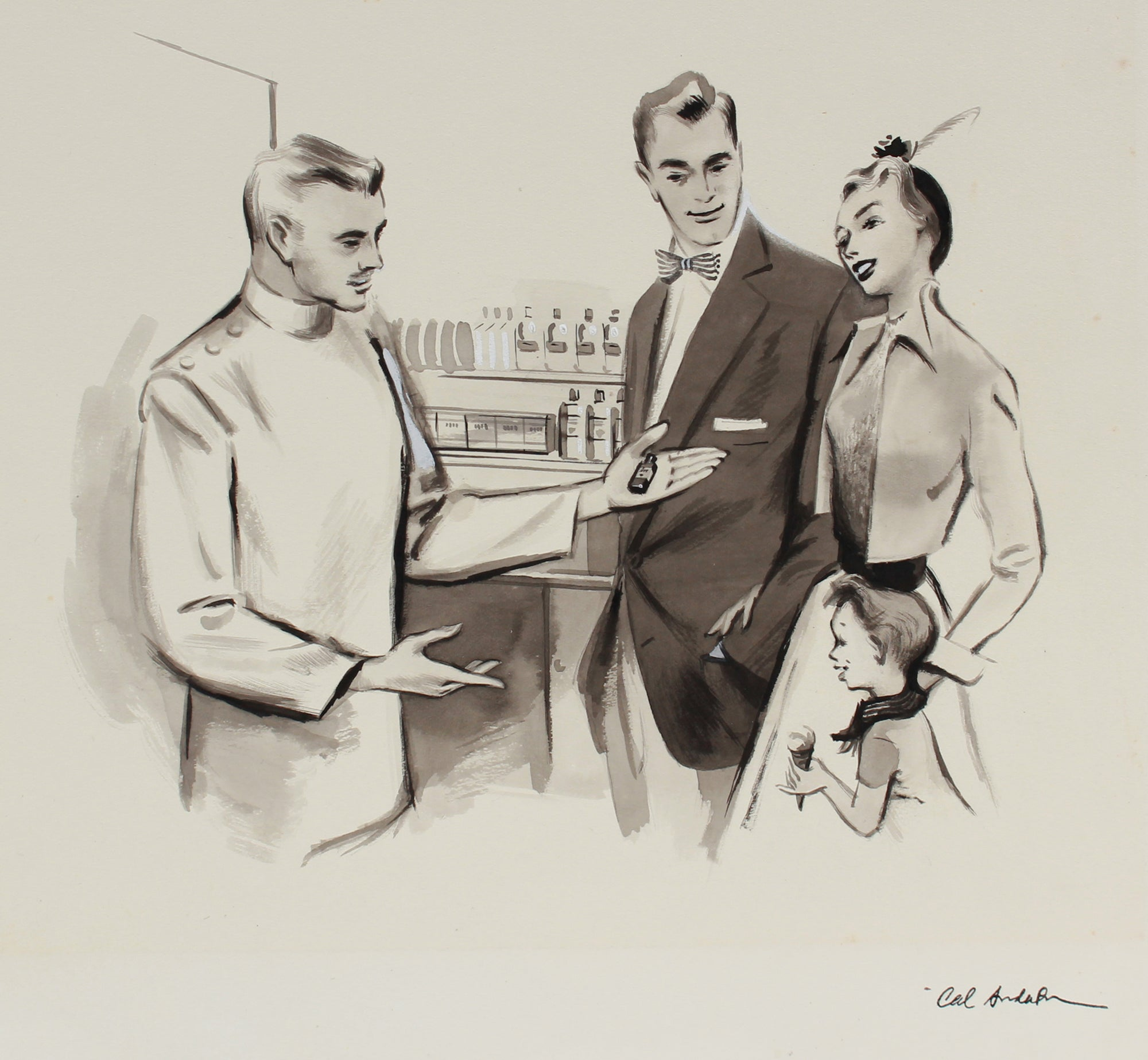 Family at the Pharmacy, Vintage Drawing <br>1950-60s Ink & Gouache <br><br>#A9013