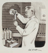 Chemist in the Lab, Vintage Illustration <br>1950-60s Ink <br><br>#A9014