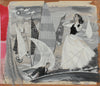 Vintage Nautical-Themed Illustration with Couple <br>1950-60s Gouache & Graphite <br><br>#A9024