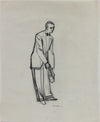 Vintage Drawing of a Waiter with Wine Bottle <br>1950-60s Graphite <br><br>#A9030