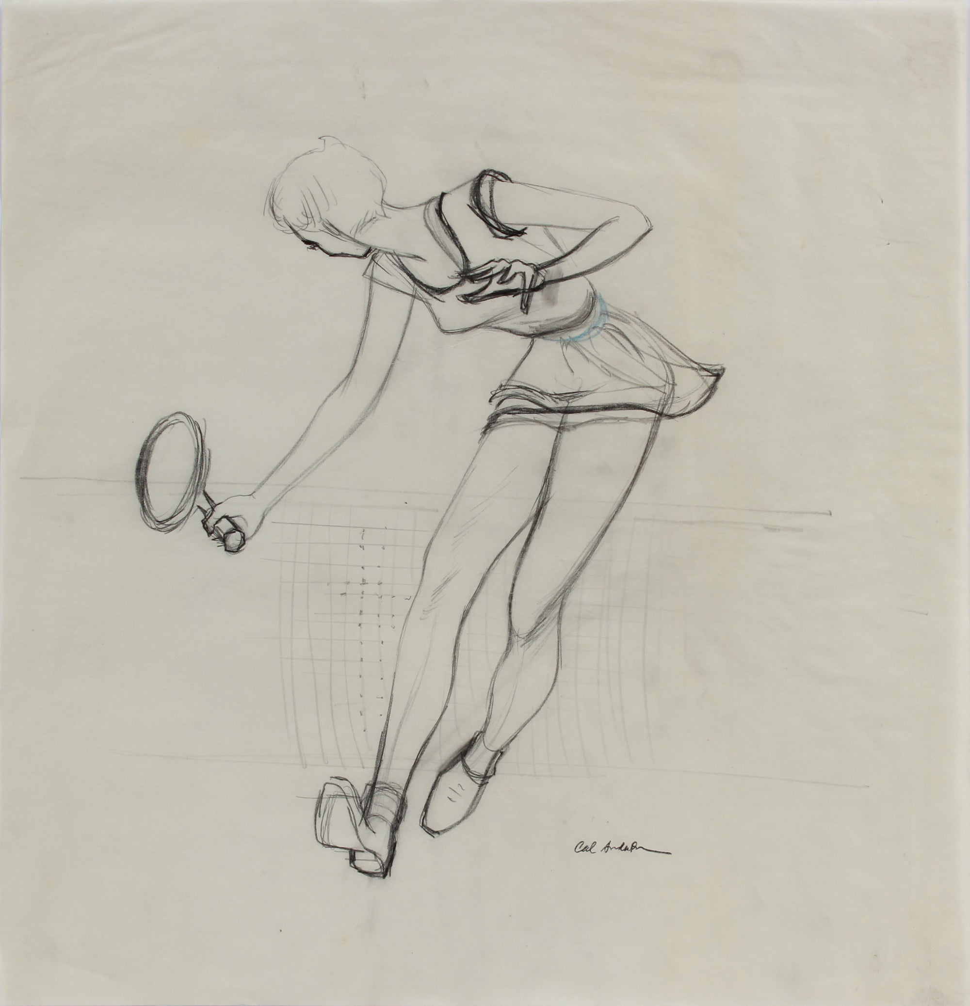 Female Tennis Player Study on Tracing Paper <br>1950-60s Graphite & Colored Pencil <br><br>#A9032