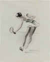 Female Tennis Player in Motion <br>1950-60s Charcoal & Pastel <br><br>#A9033