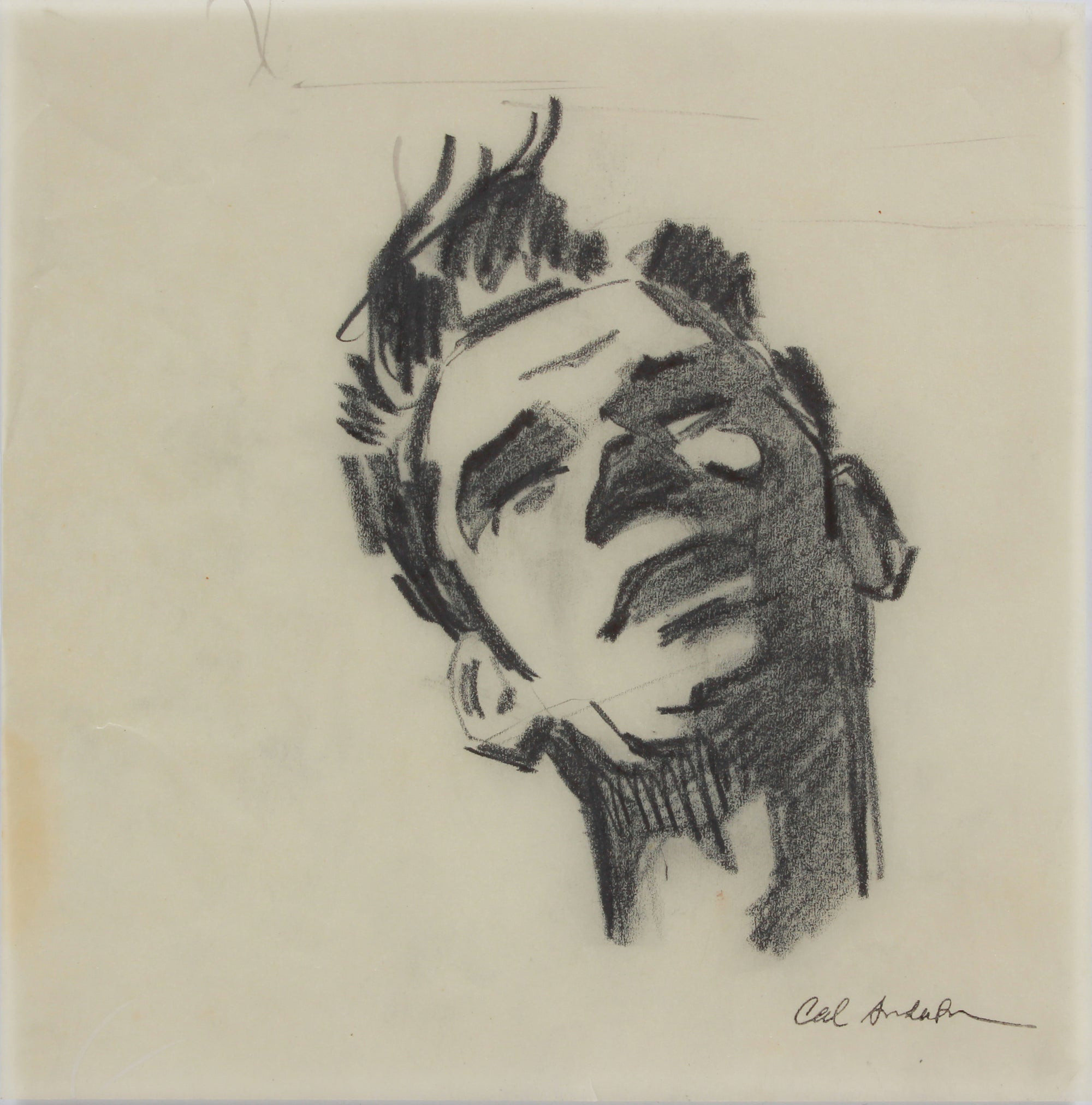 Modernist Male Portrait Study <br>1950-60s Graphite <br><br>#A9034