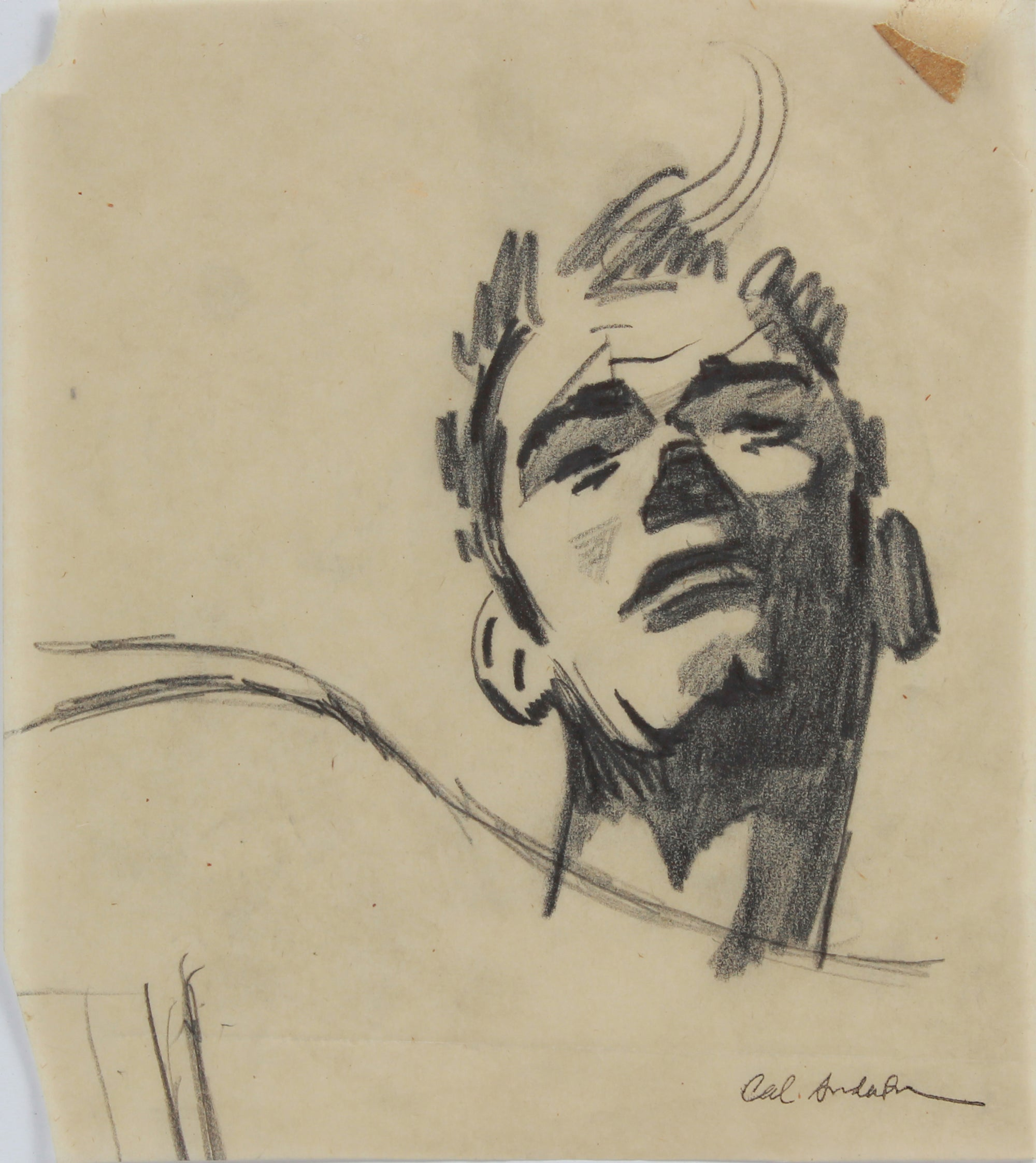 Modernist Male Portrait Study <br>1950-60s Graphite <br><br>#A9035
