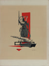 Surreal Scene with Japanese Warrior & Bonsai Tree <br>1950-60s Gouache <br><br>#A9036