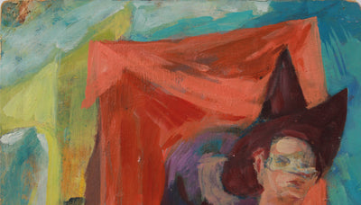 <i>Procession</i> <br>1960s Oil on Paper <br><br>#A9139