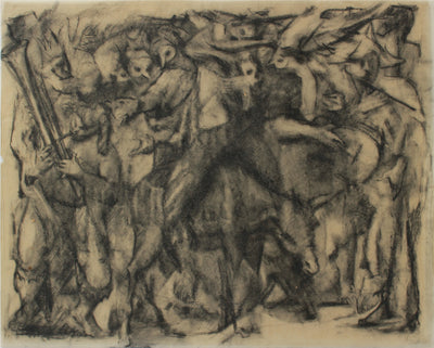 Bustling Modernist People Scene <br>1960s Charcoal <br><br>#A9146