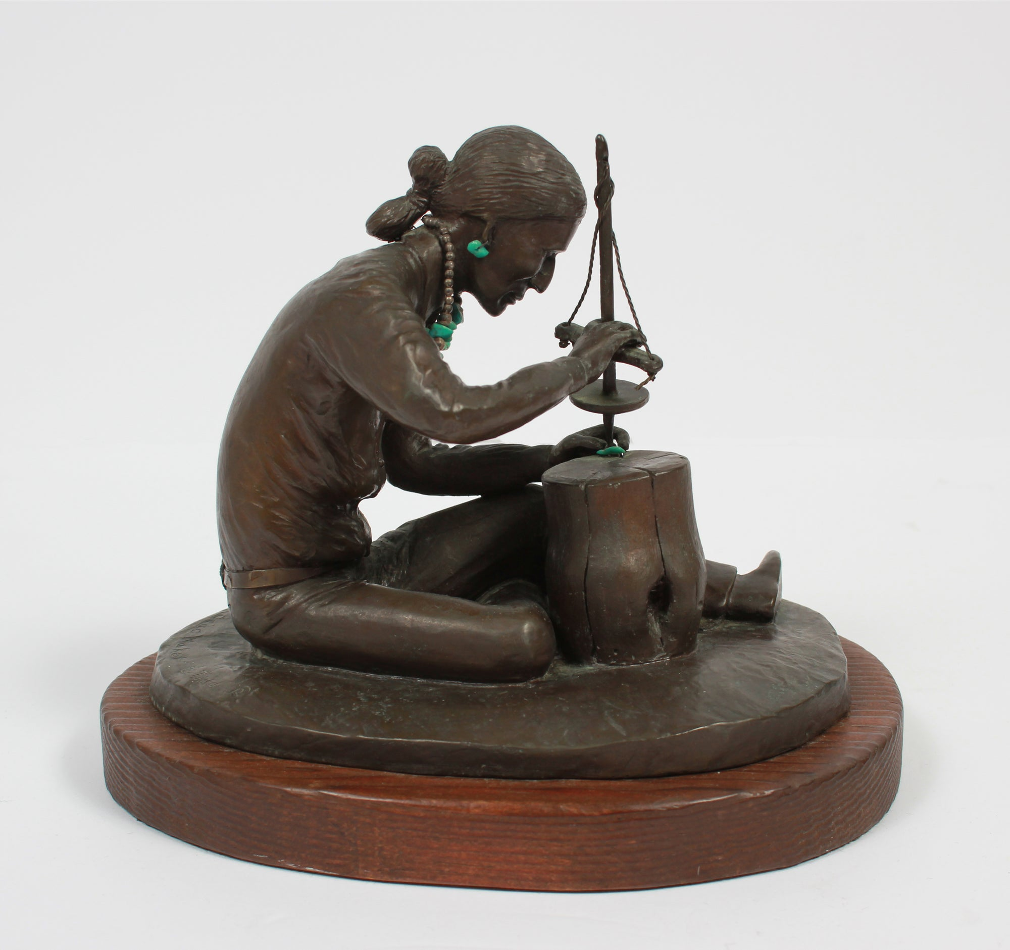 <i>The Bead Maker</i> <br>Bronze with Turquoise on Wood <br><br>#A9269