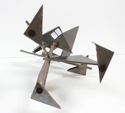 Geometric Standing Form in Motion <br>20th Century Welded Steel <br><br>#A9285