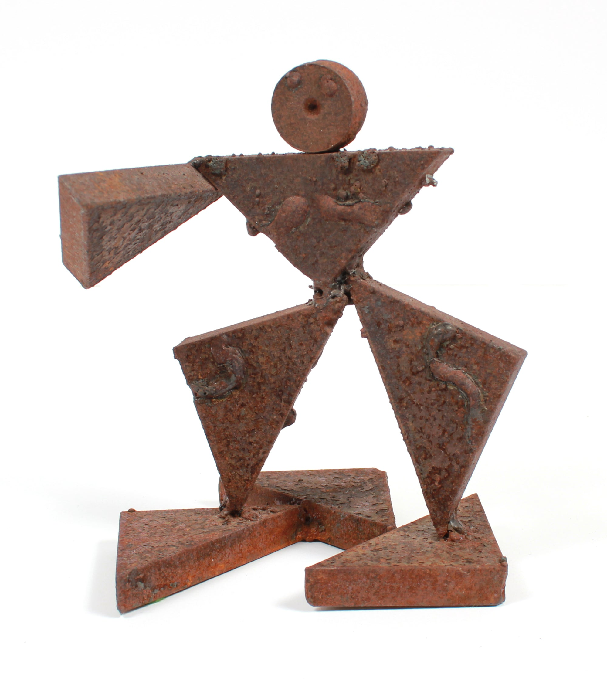 Vintage Geometric Figurative Multi-Media Metal Sculpture <br><br>#A9319