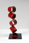 Six Red Rings in an Angled Stack <br>Multimedia Metal Sculpture <br><br>#A9336