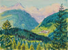 Swiss Mountain Scene, Near Lenzerheide <br>1964 Watercolor <br><br>#A9365