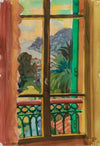 <i>The Window on Villefranche</i> <br>1965 Watercolor & Graphite <br><br>#A9376