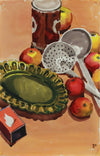 Vintage Still Life with Apples & Ladle <br>Mid Century Watercolor & Graphite <br><br>#A9378