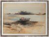 Abstracted Lake Scene with Boat <br>1960s Watercolor <br><br>#A9390