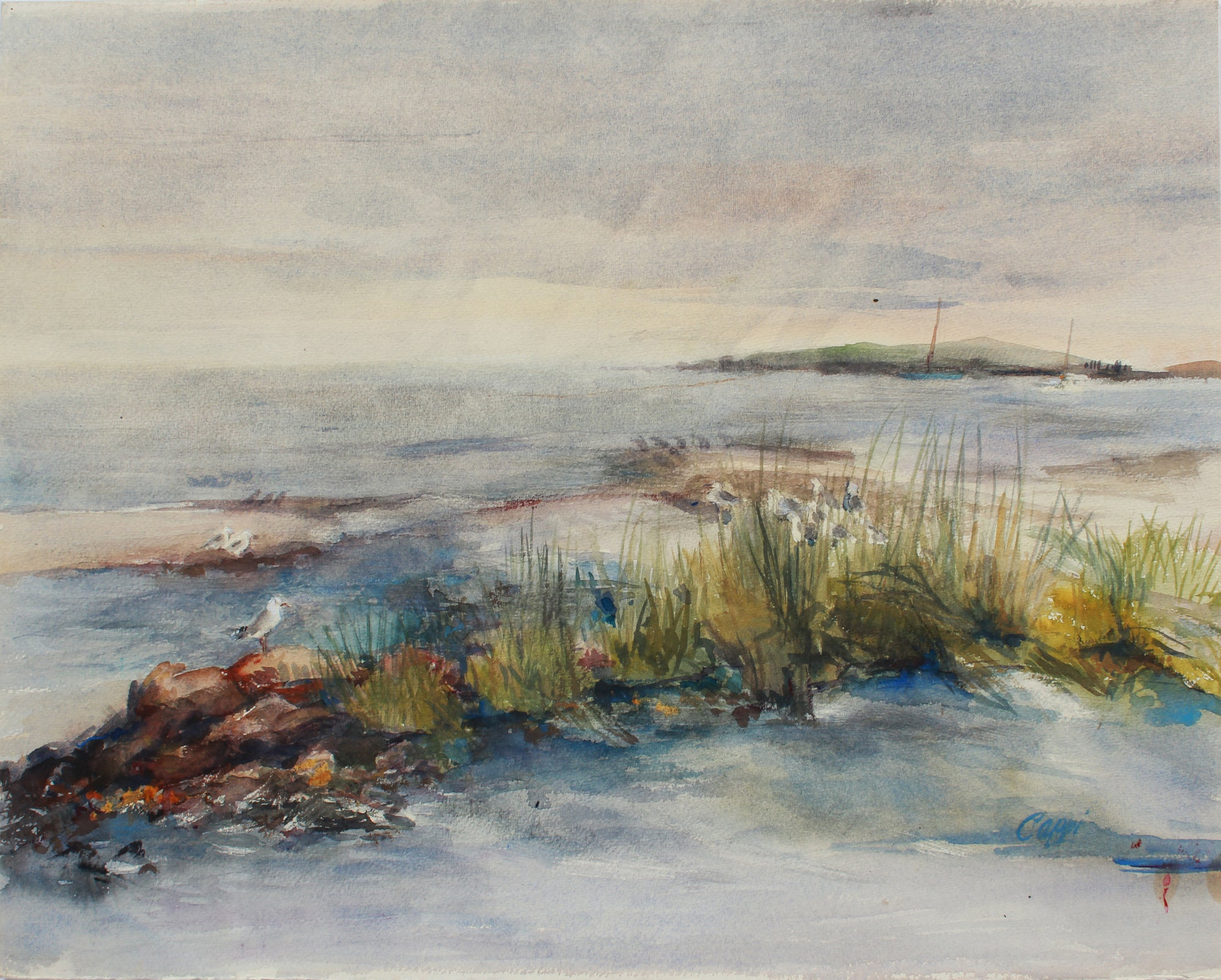 <i>Shoreline</i>, Westport, CT<br>1980s Watercolor <br><br>#A9455