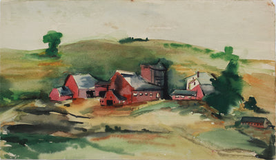 New England Farm Abstracted Landscape <br>1980s Gouache <br><br>#A9461