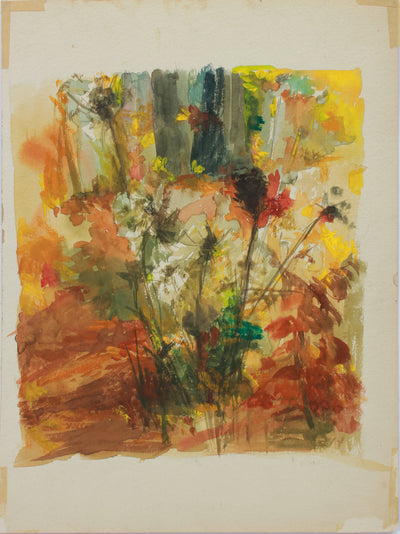 Double-Sided Abstracted Floral Still Life I <br>1960s Gouache <br><br>#A9463