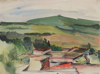 <i>San Miguel D'Avenue</i> <br>1940s Watercolor <br><br>#A9471