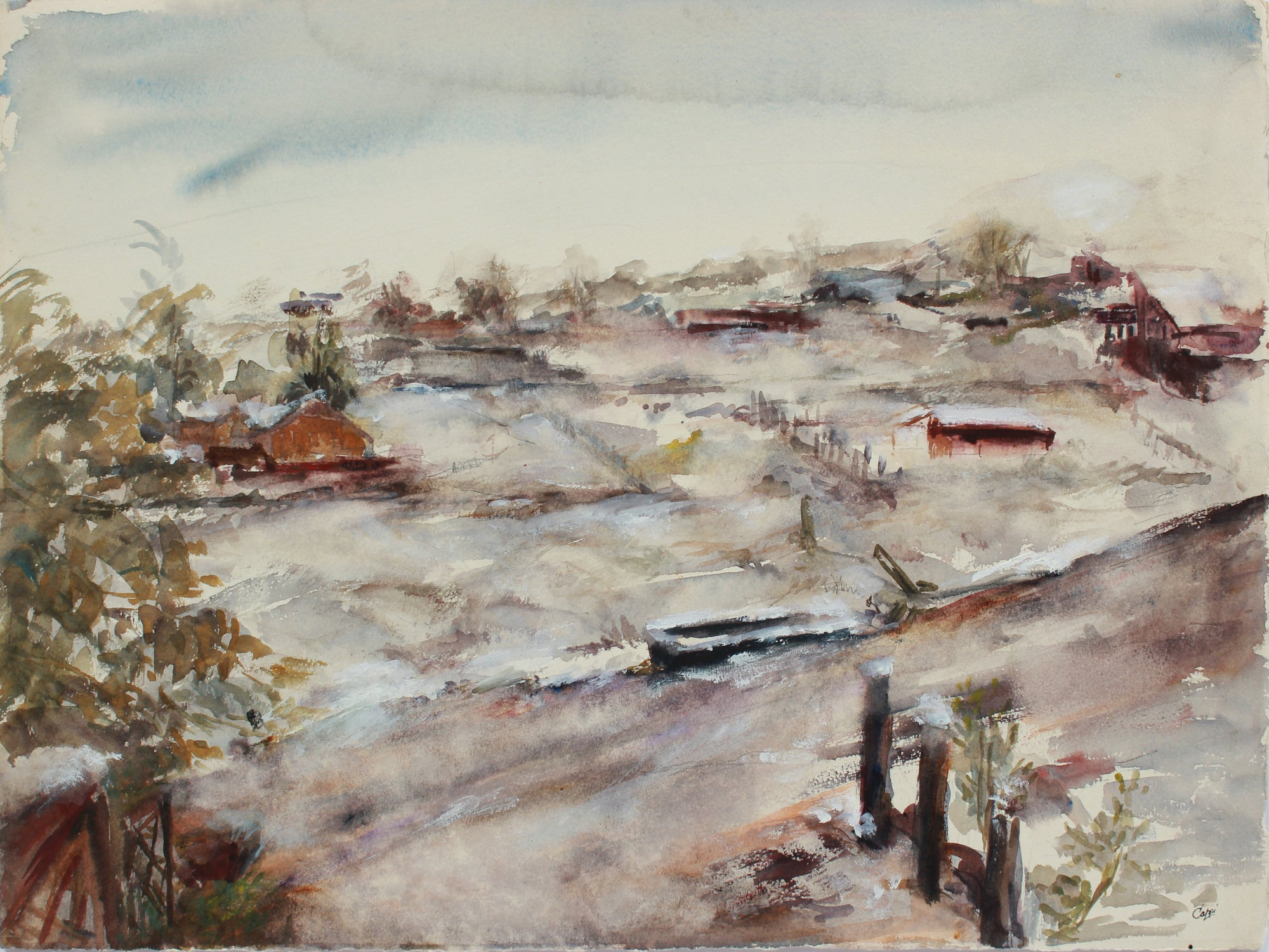 Abstracted New England Landscape <br>1970s Watercolor & Graphite <br><br>#A9472