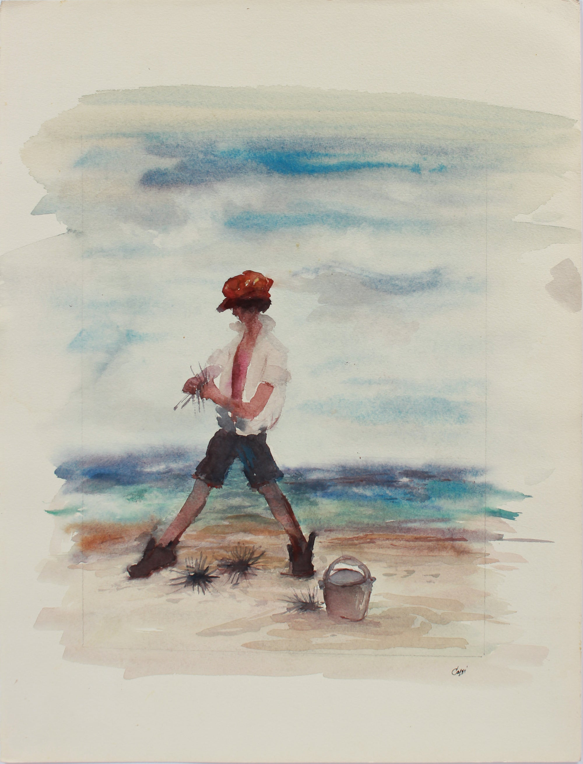Collecting Shells at Cape Cod <br>1980s Watercolor <br><br>#A9474