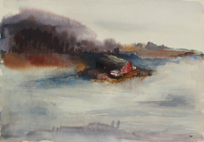 <i>Barn at the Mill Pond</i> <br>1960s Watercolor <br><br>#A9475