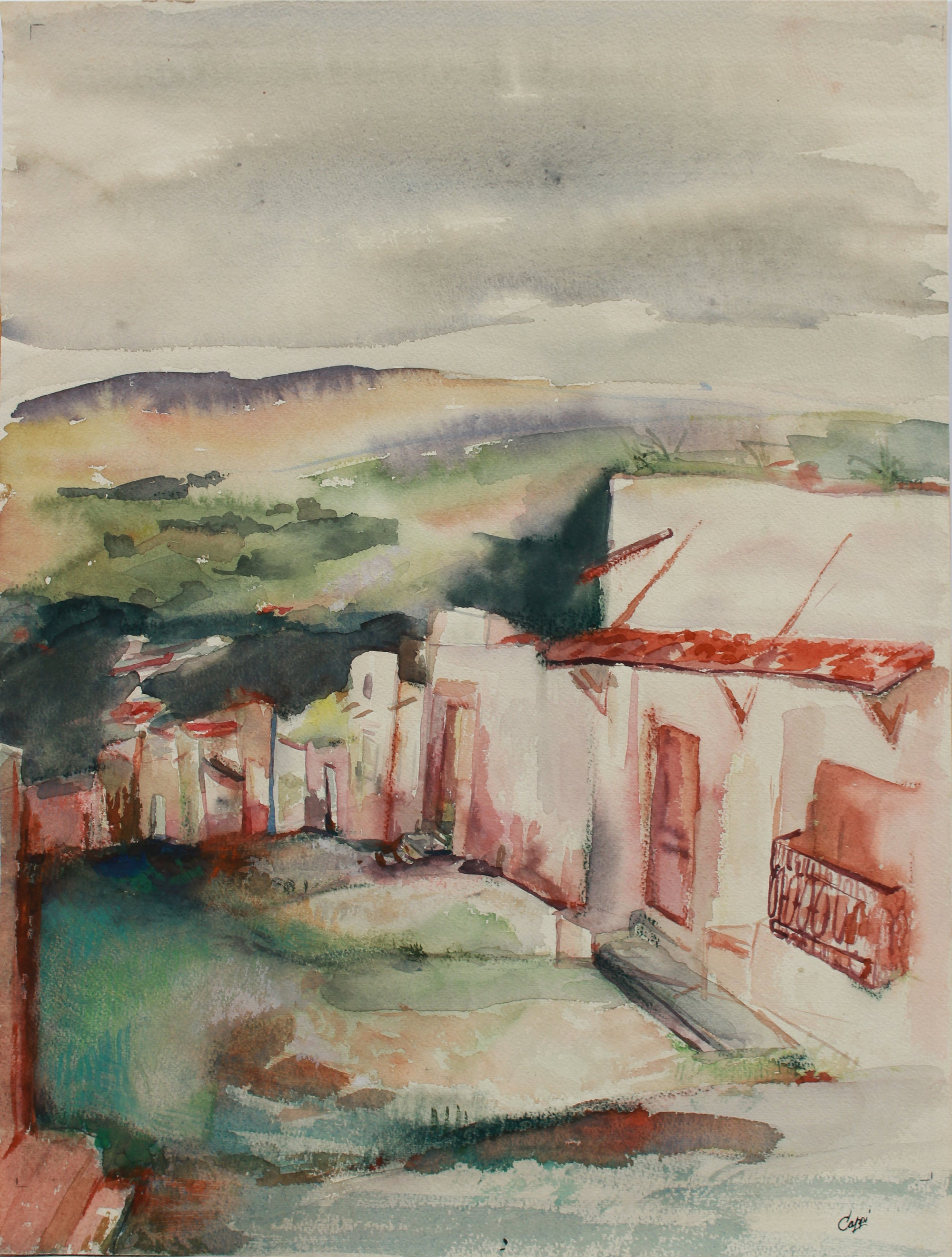 Quiet Mexican Village Landscape <br>1960-80s Watercolor <br><br>#A9479