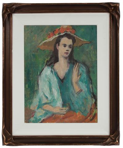 Serene Portrait with Flower Hat <br>1970s Oil <br><br>#A9552