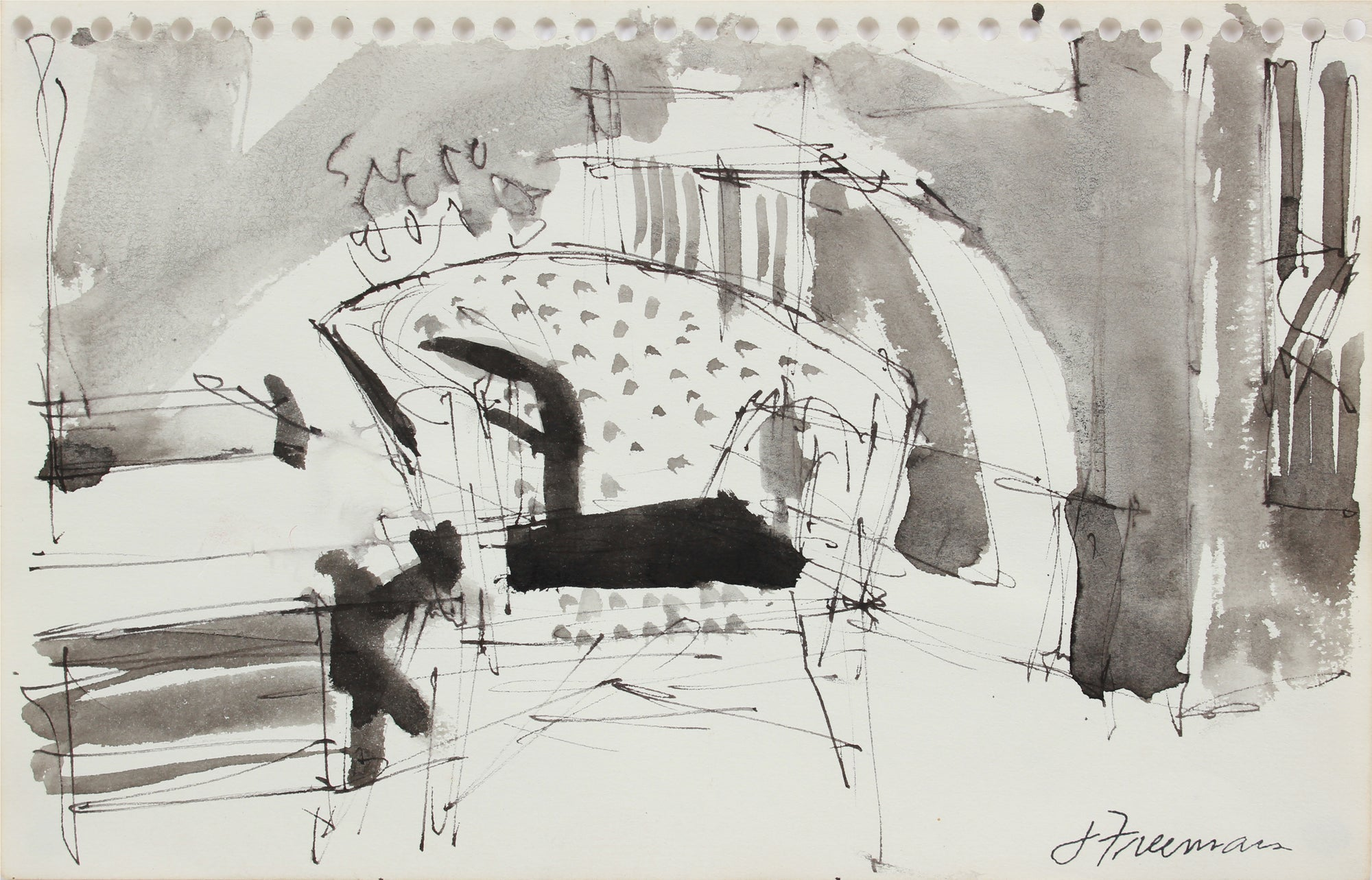 Abstract Modernist Sketch II <br>1976 Ink <br><br>#A9598