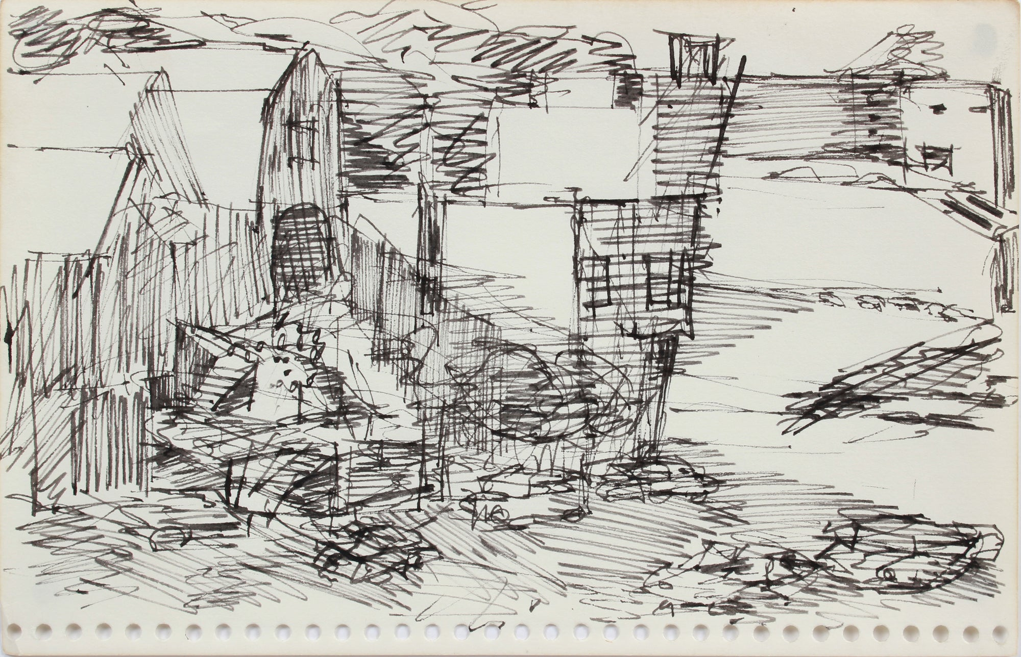 zz- Industrial Monochromatic Landscape <br>1976 Ink <br><br>#A9608