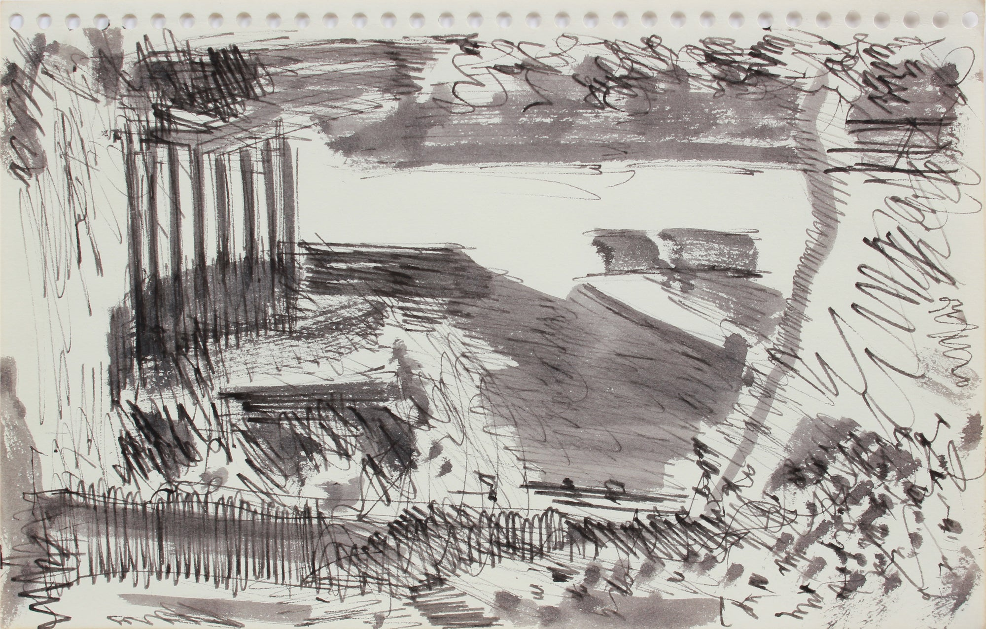 Industrial City Abstraction <br>1976 Ink <br><br>#A9611