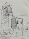 Building at San Francisco Art Institute <br>1976 Charcoal <br><br>#A9629