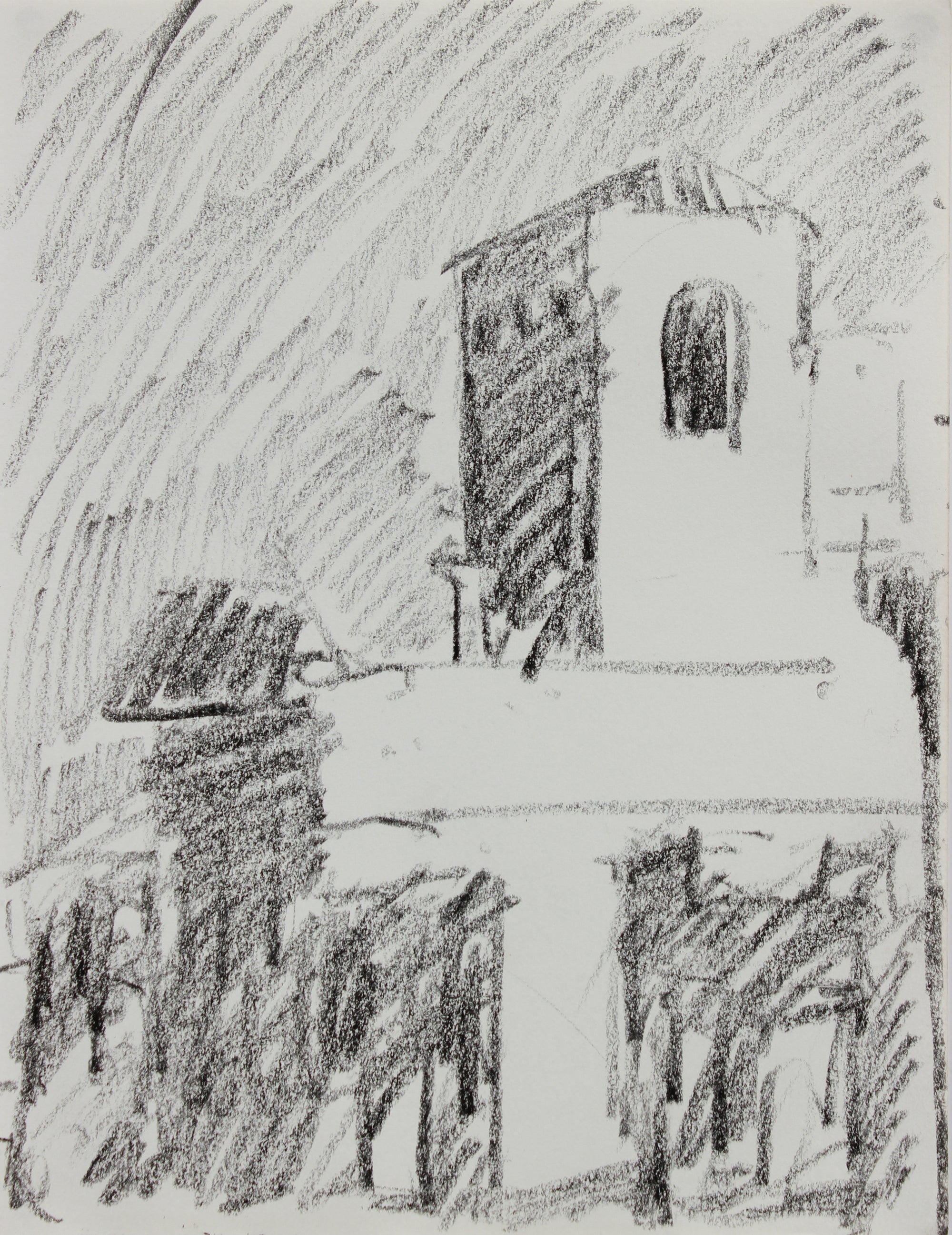 View of the San Francisco Art Institute <br>1984 Charcoal <br><br>#A9631