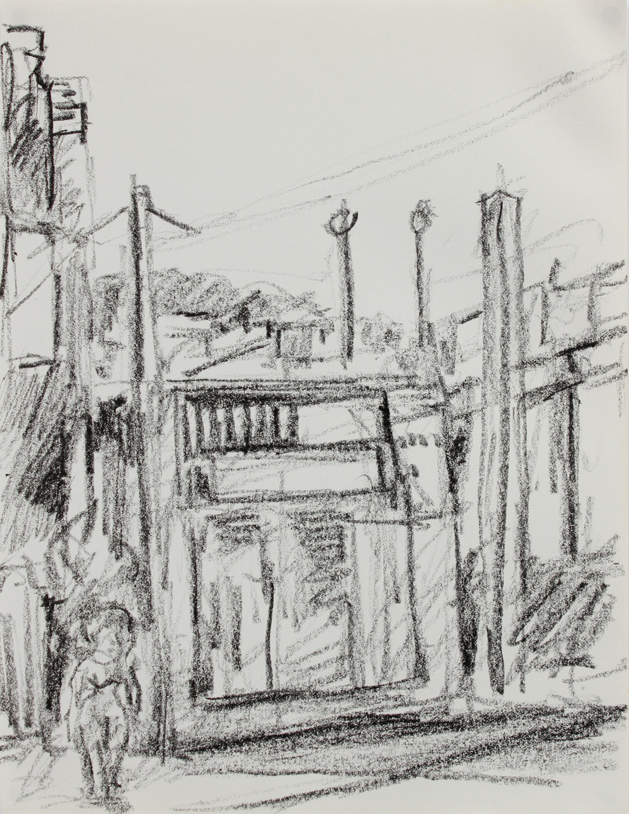 Monochrome California Cityscape <br>1984 Charcoal <br><br>#A9634
