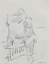 Seated Figure Reading <br>1984 Charcoal <br><br>#A9636