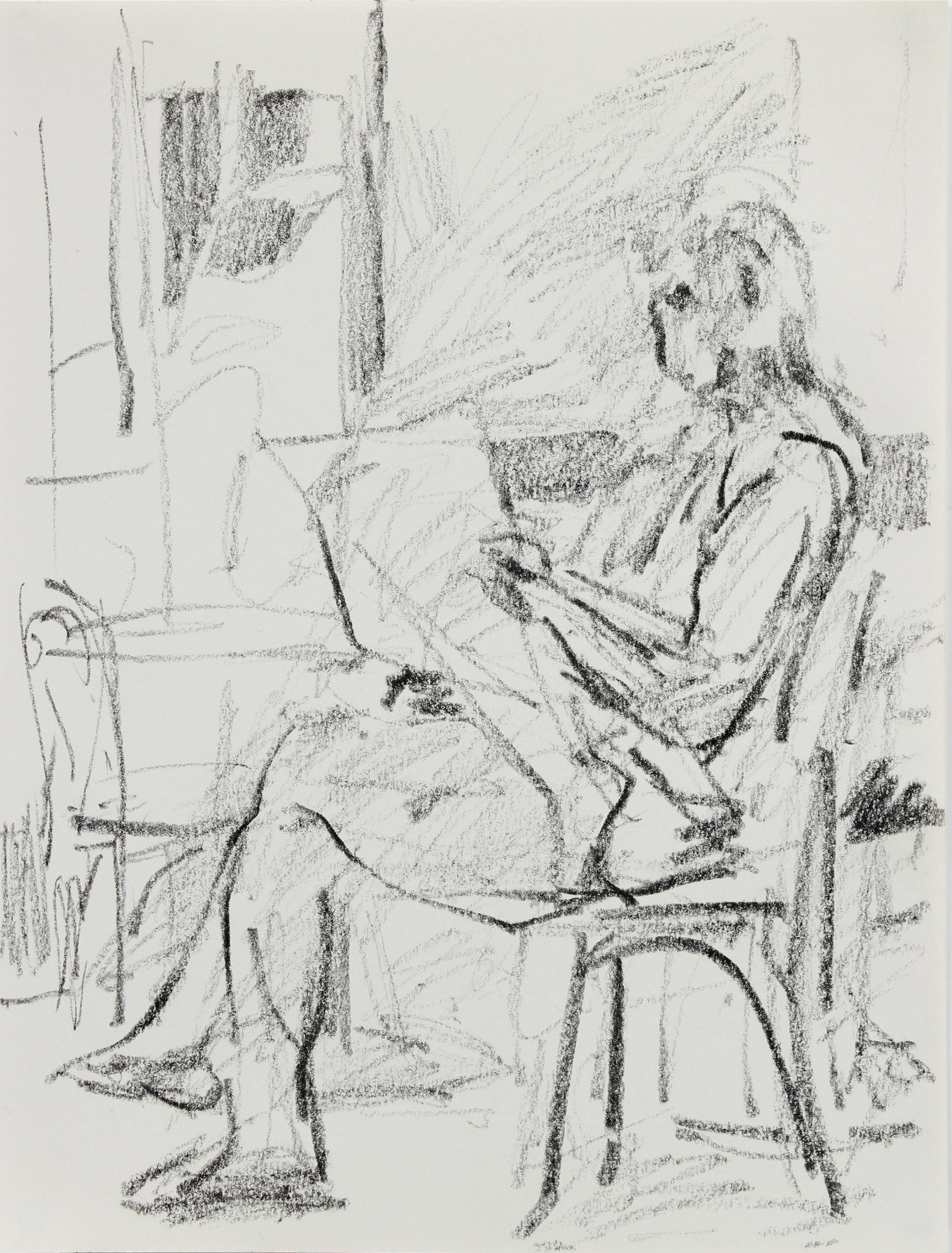 Seated Reading Figure <br>1984 Charcoal <br><br>#A9638