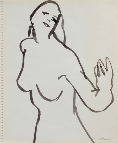 Loose Modernist Figure <br>Late 1970s Ink <br><br>#A9643