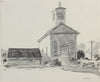 Californian Building with Bell Tower <br>Late 1970s Graphite <br><br>#A9645