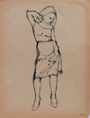Contrapposto Female Figure <br>1970s Ink <br><br>#A9648