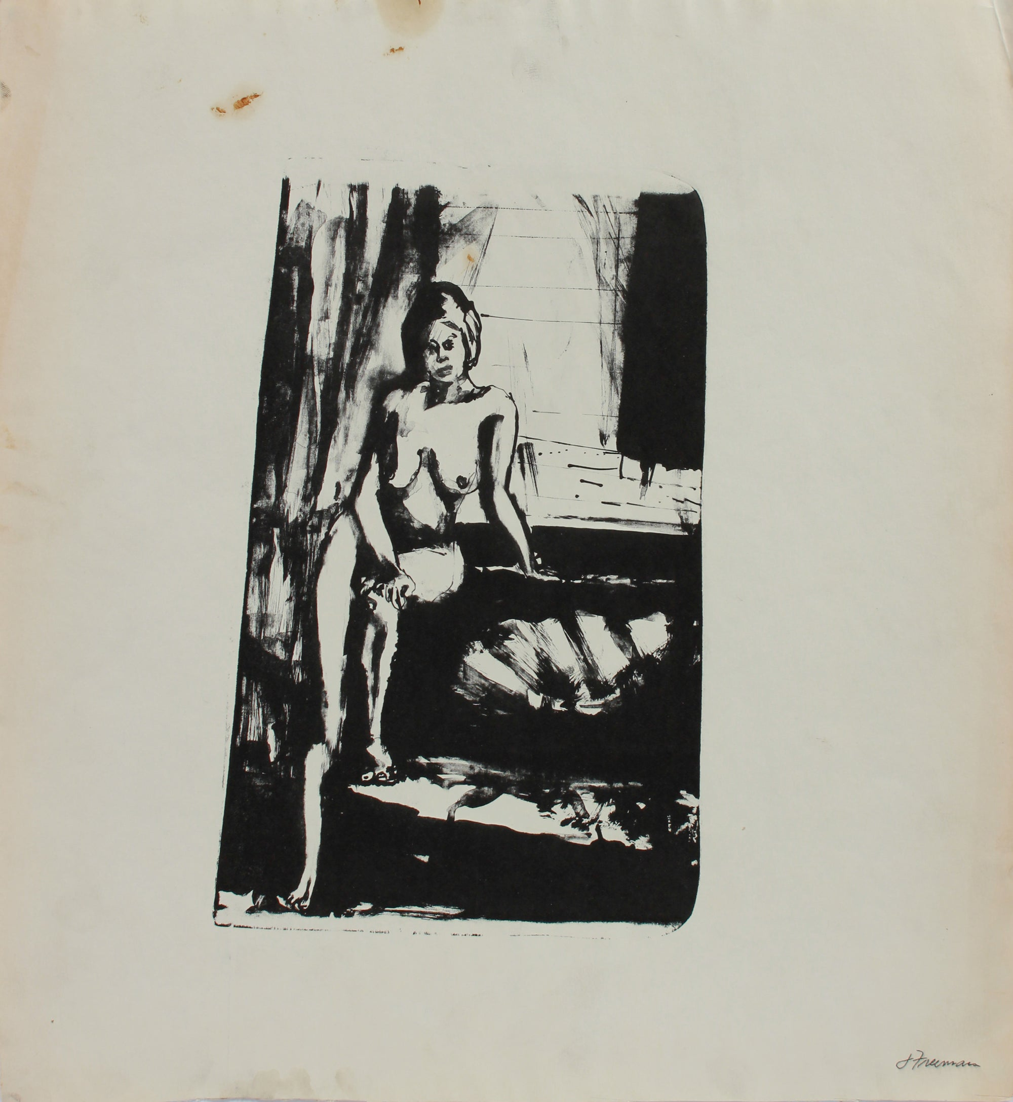 Nude Model Posing <br>1970s Lithograph <br><br>#A9651