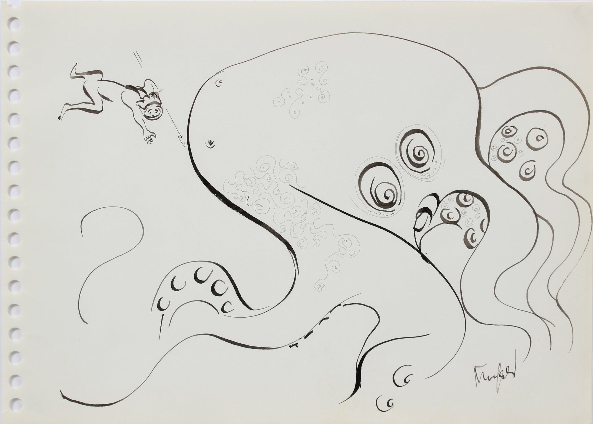 Monochrome Octopus Drawing<br>1970-80s Ink<br><br>#A9673