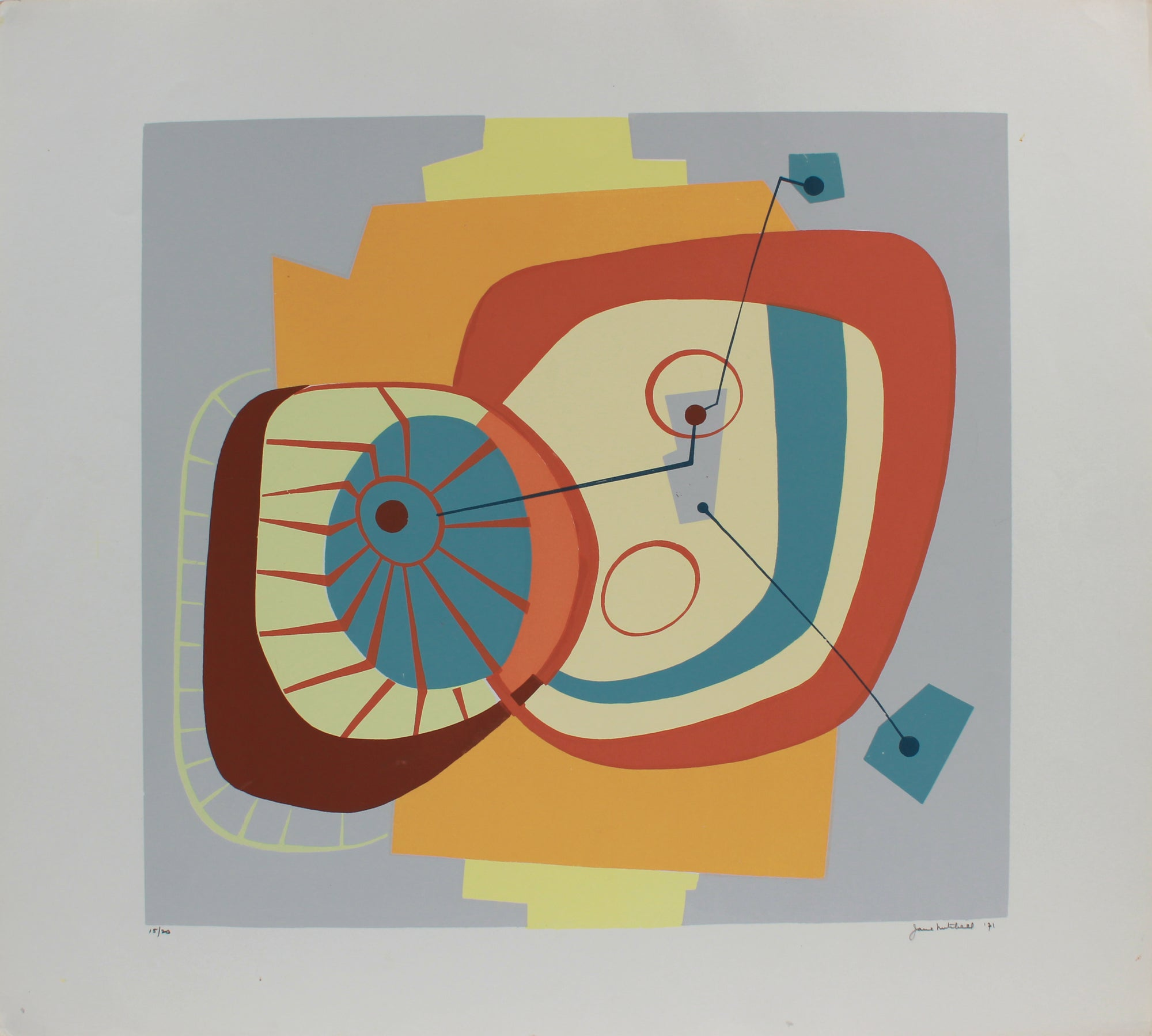 Modernist Geometric Abstract <br>1971 Serigraph <br><br>#A9719