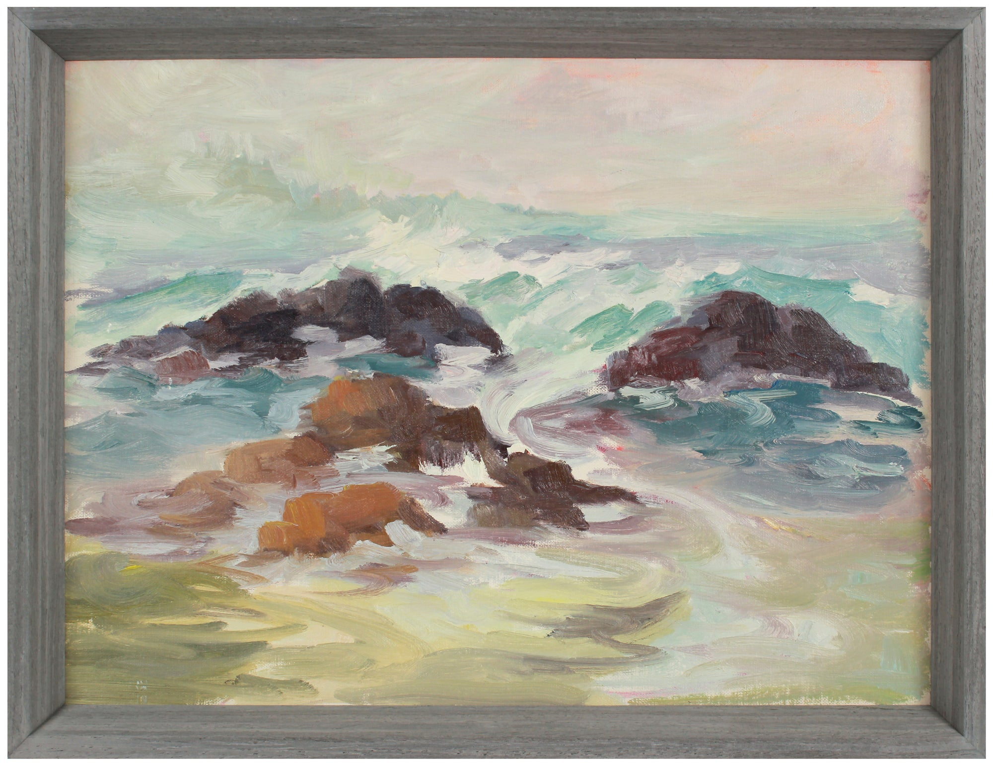 Rocky Coastal Waves <br>Early 20th Century Oil <br><br>#A9737