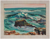 Vivid Rocky Waves <br>Early 20th Century Oil on Paper <br><br>#A9739