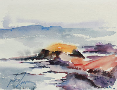 Dreamy California Coastal Scene <br>20th Century Watercolor <br><br>#A9750