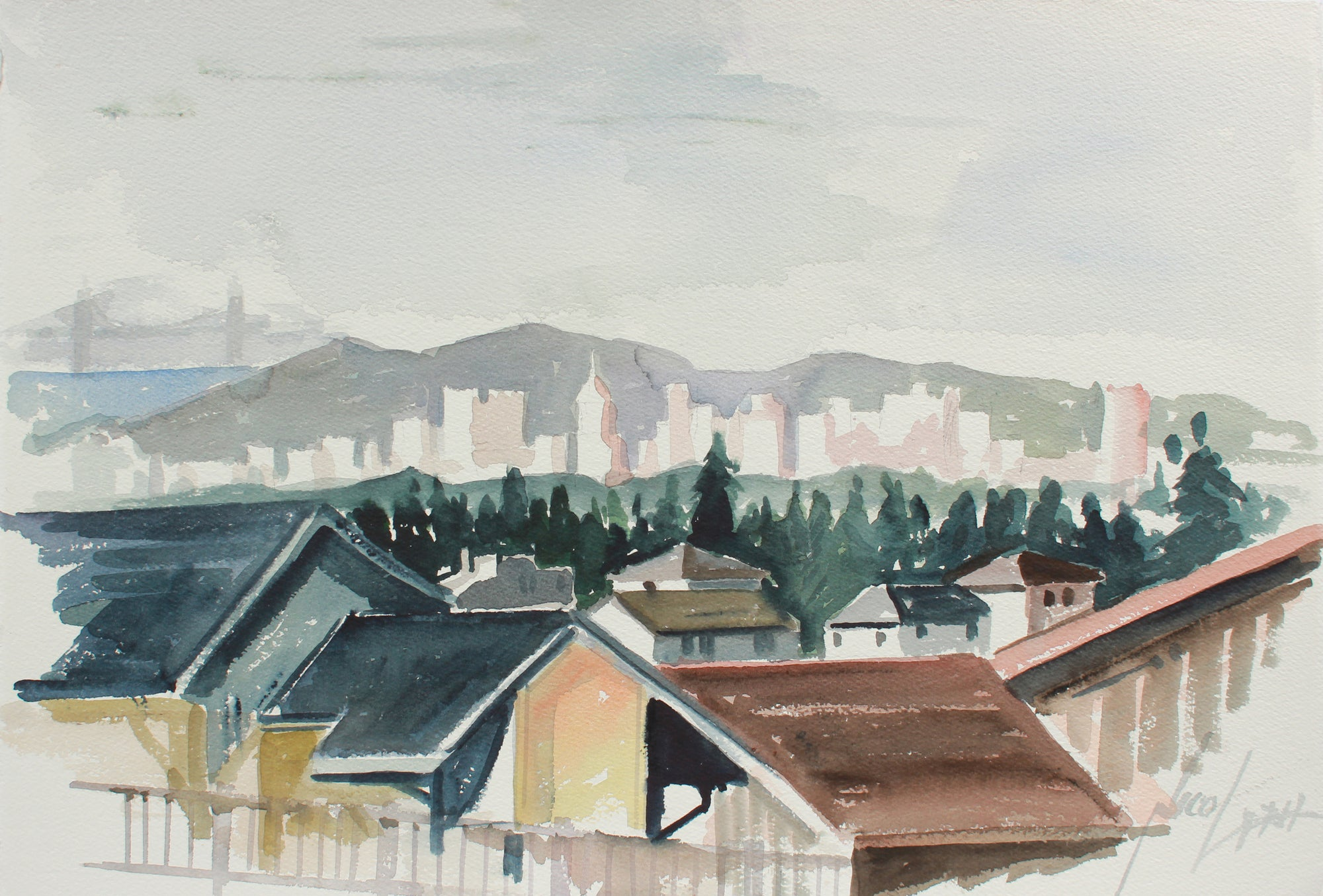 San Francisco Skyline From the East Bay <br>20th Century Watercolor <br><br>#A9754