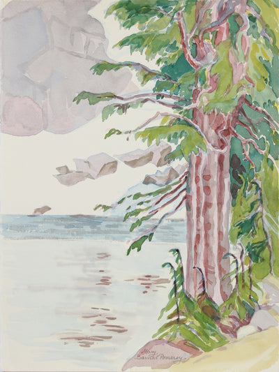 <i>Winnemucca Lake with Ancient Hemlocks</i> <br>1999 Watercolor <br><br>#A9952