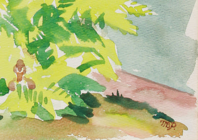 <i>By The Front Door</i> <br>1979 Watercolor <br><br>#A9953