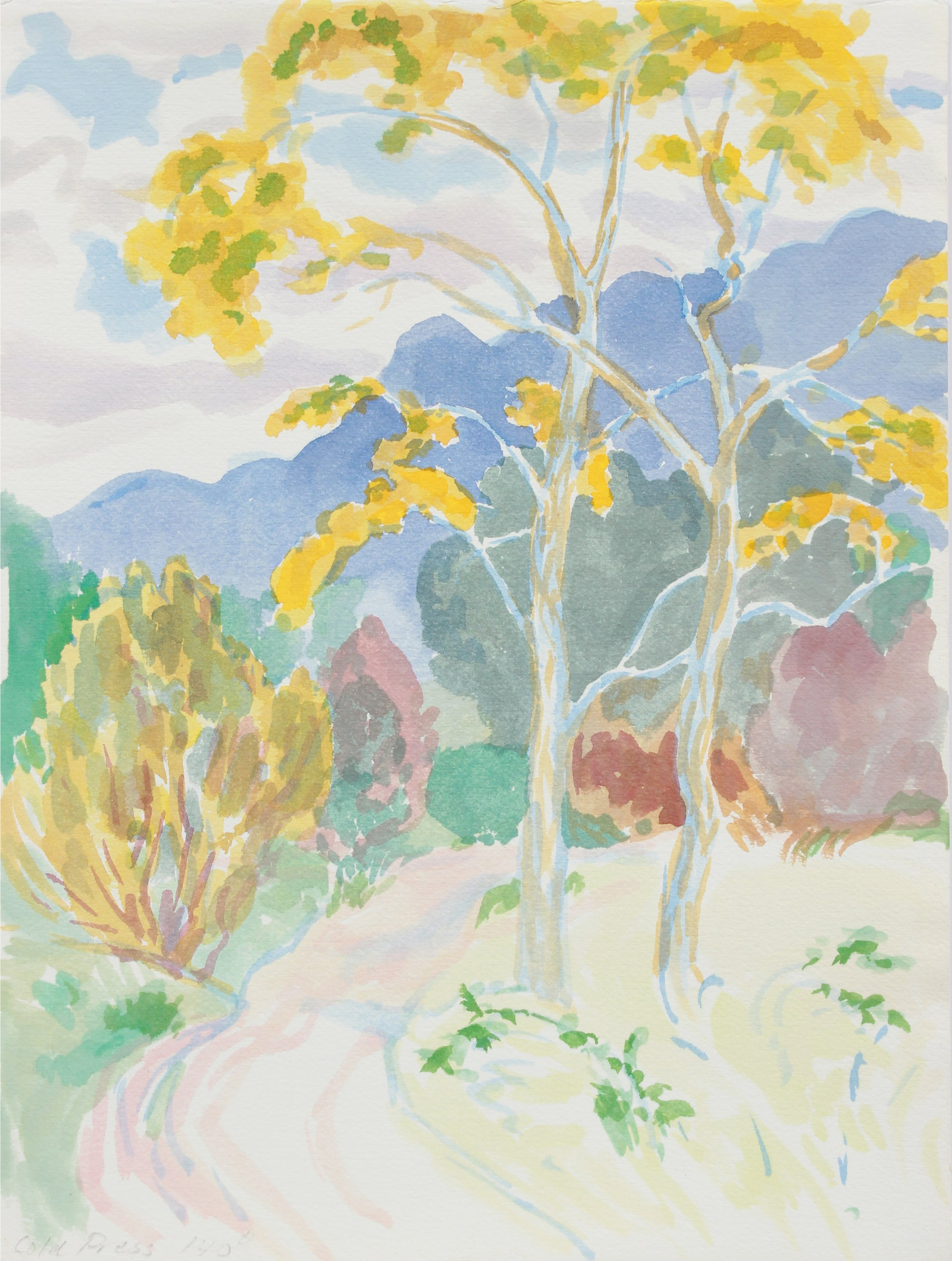 <i>Autumn in Garland Park</i> <br> 1999 Watercolor <br><br>#A9954