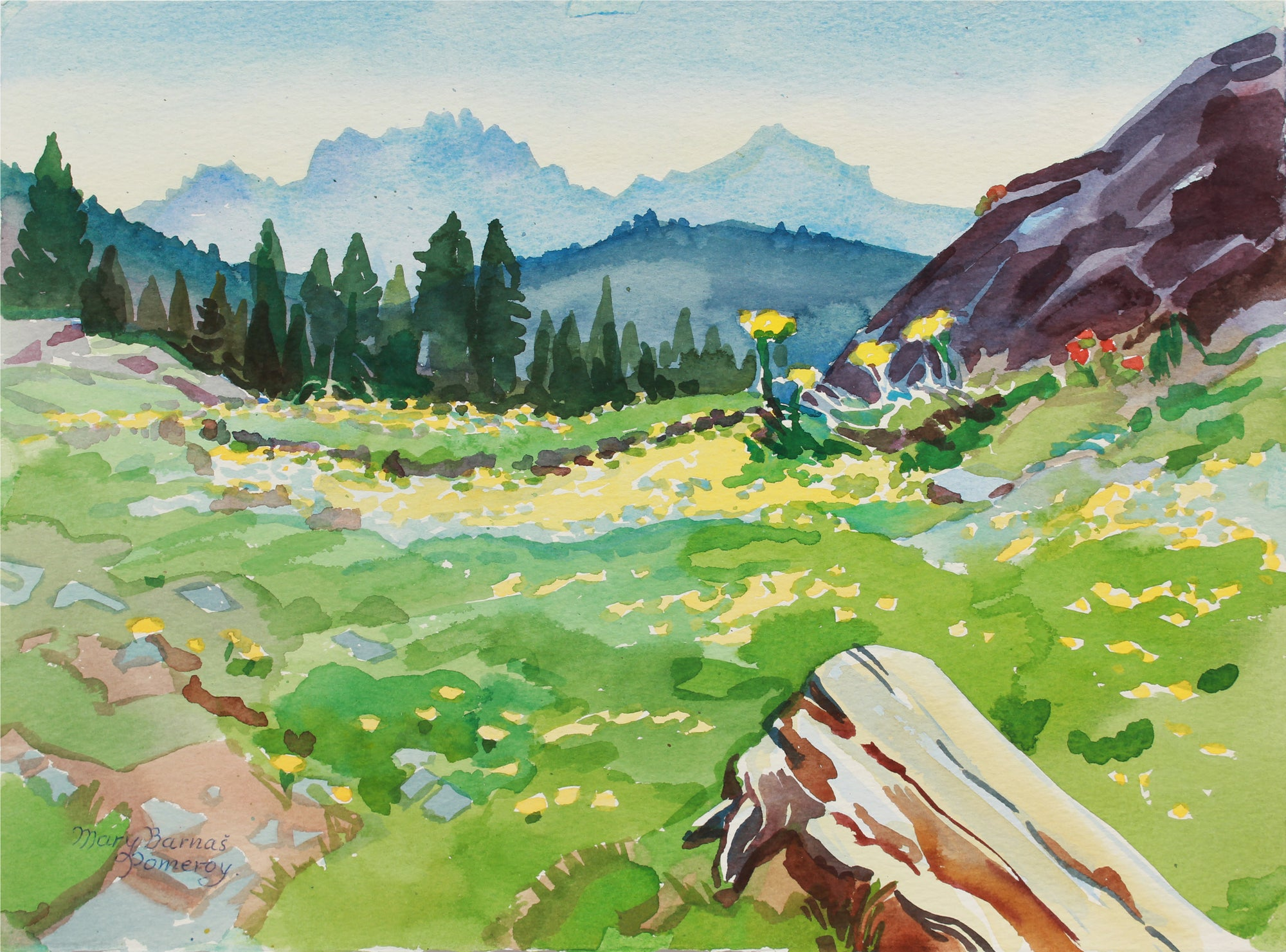 <i>High Sierra Springtime - Toward Ebbett's Pass</i> <br> June 1989 Watercolor <br><br>#A9956